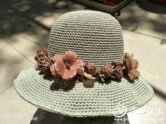 钩针太阳帽
