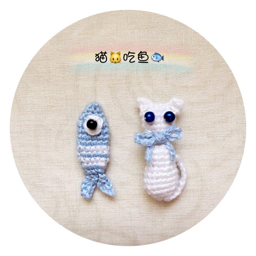 猫鱼图案钩针饰品