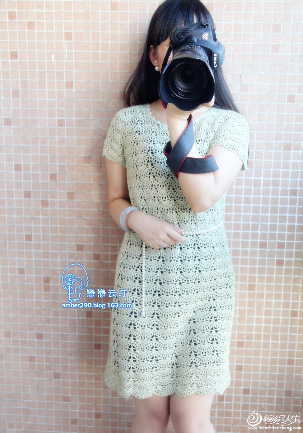 女士钩针短袖连衣裙