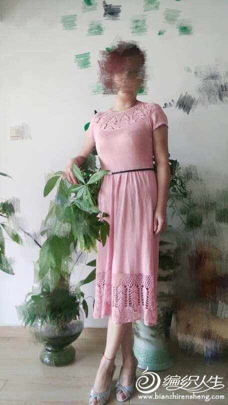 女士钩织结合连衣裙