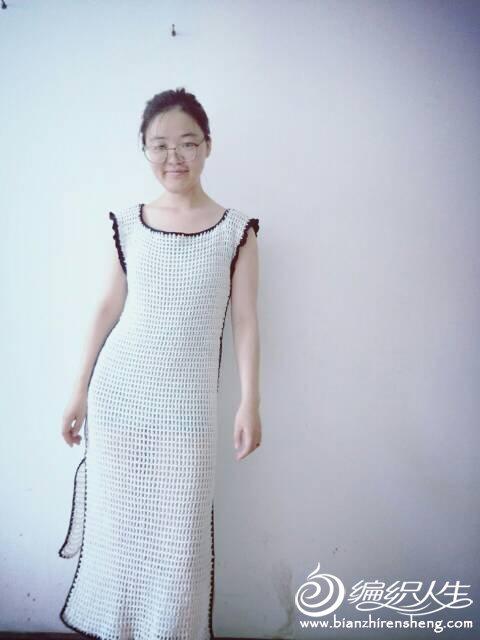 黑白钩针旗袍