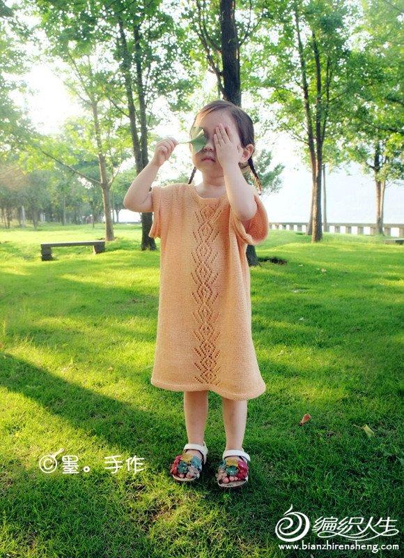 儿童棒针短袖筒裙
