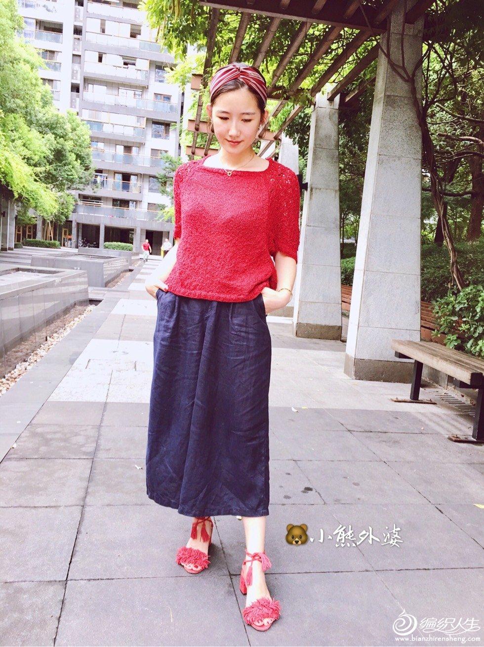 红色女士棒针短袖