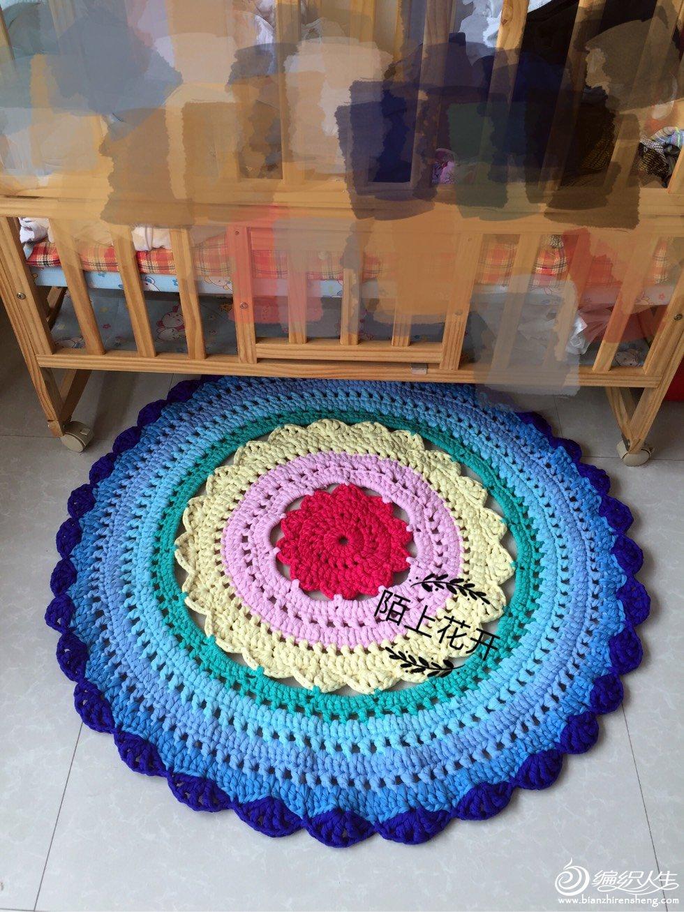 布条线彩虹钩针地毯