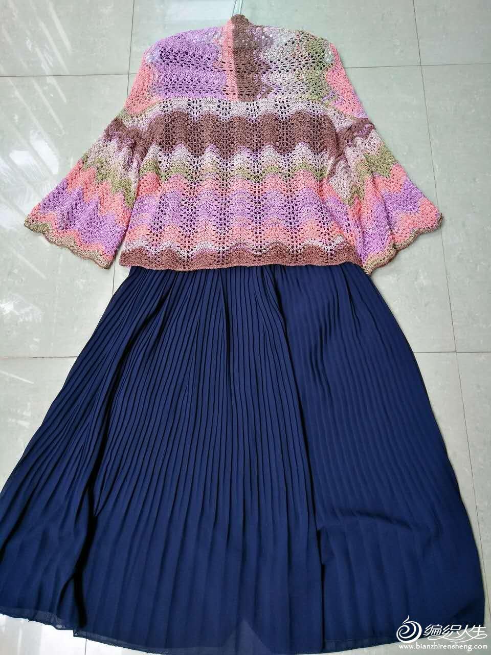 段染蕾丝女士棒针披肩式开衫-编织教程-编织人生
