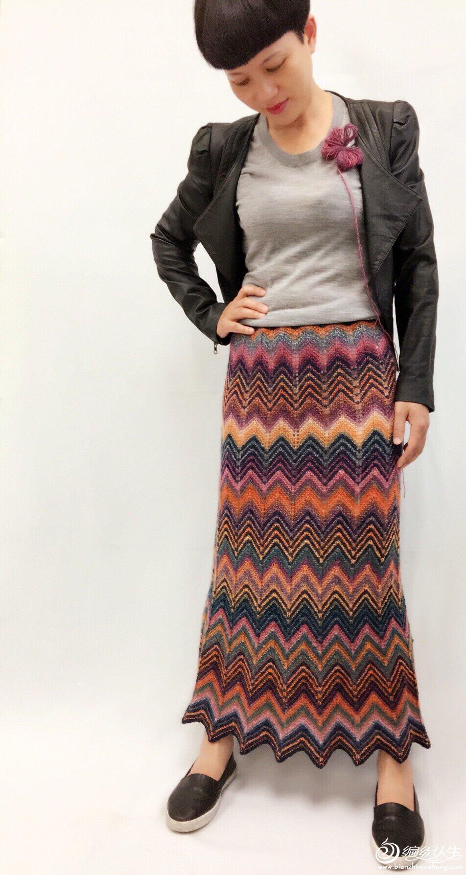 女士棒针波纹裙