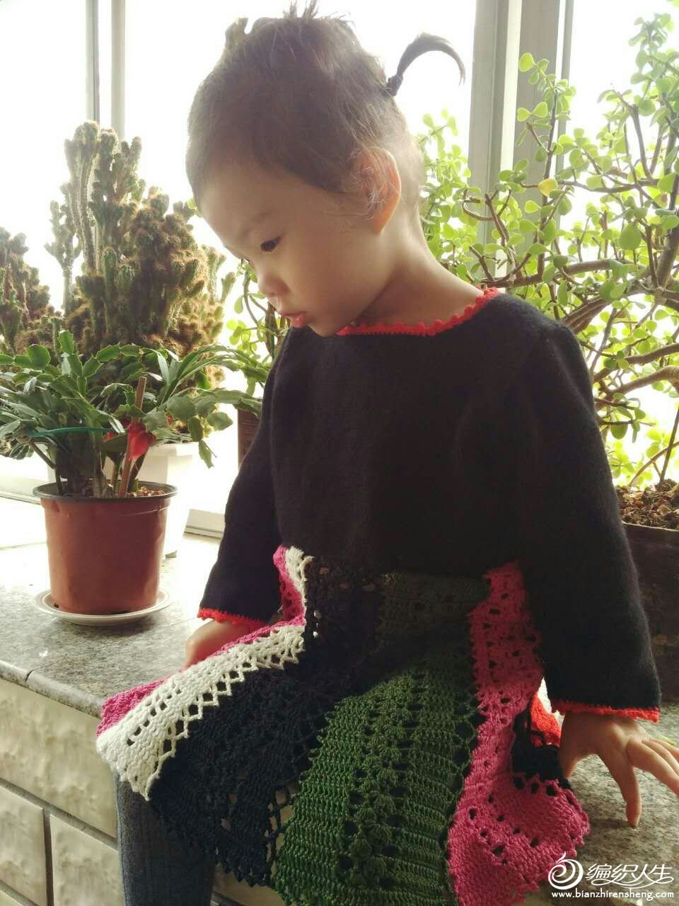 宝宝棒针长袖连衣裙
