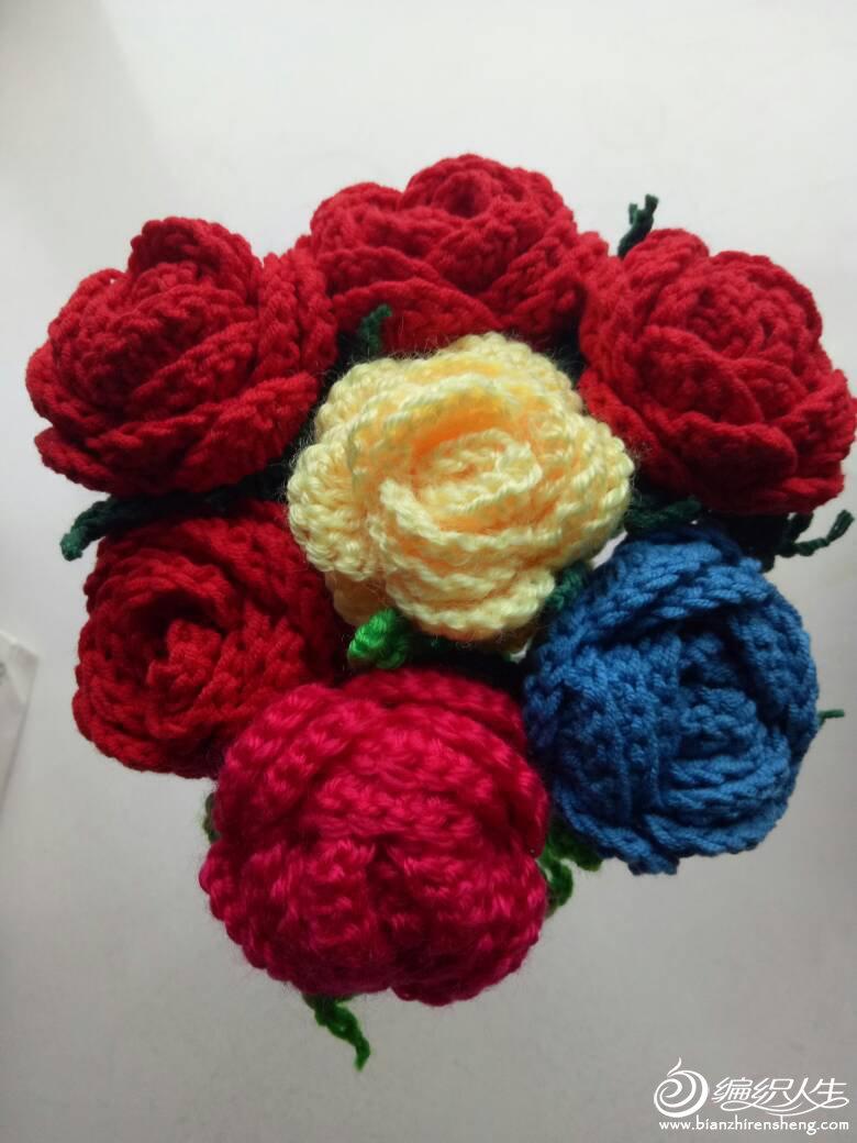 玫瑰与康乃馨_钩针编织作品秀_编织人生论坛