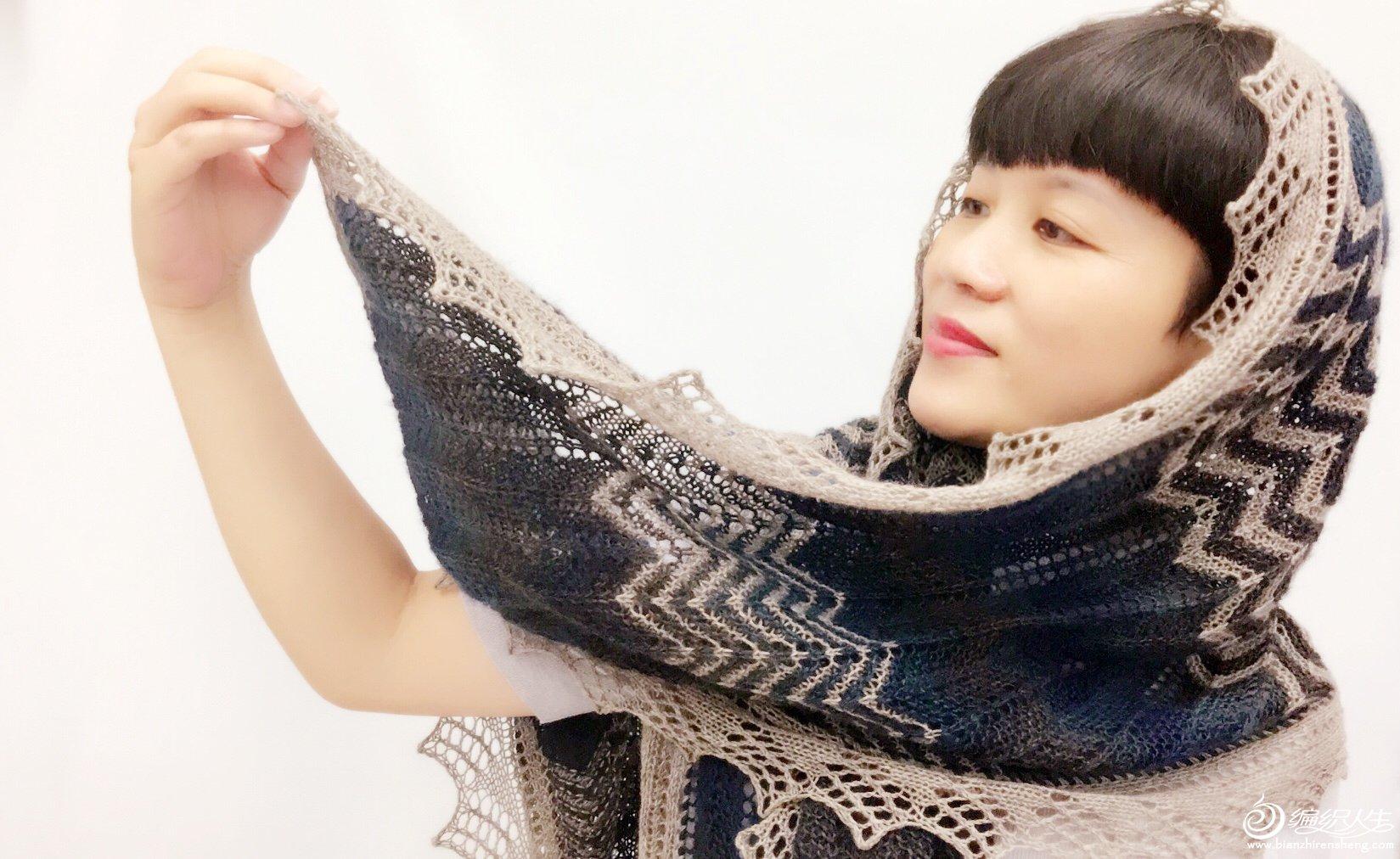 女士棒针蕾丝花边围巾