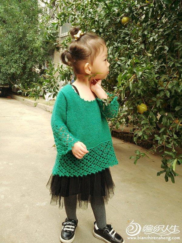 女童钩织结合九分袖