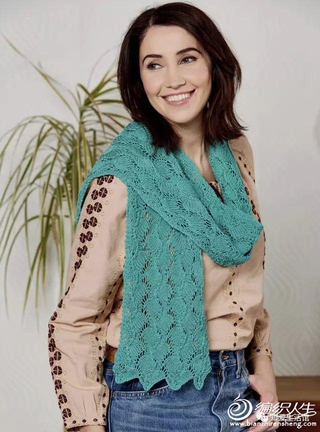 欧美设计女士棒针蕾丝围巾