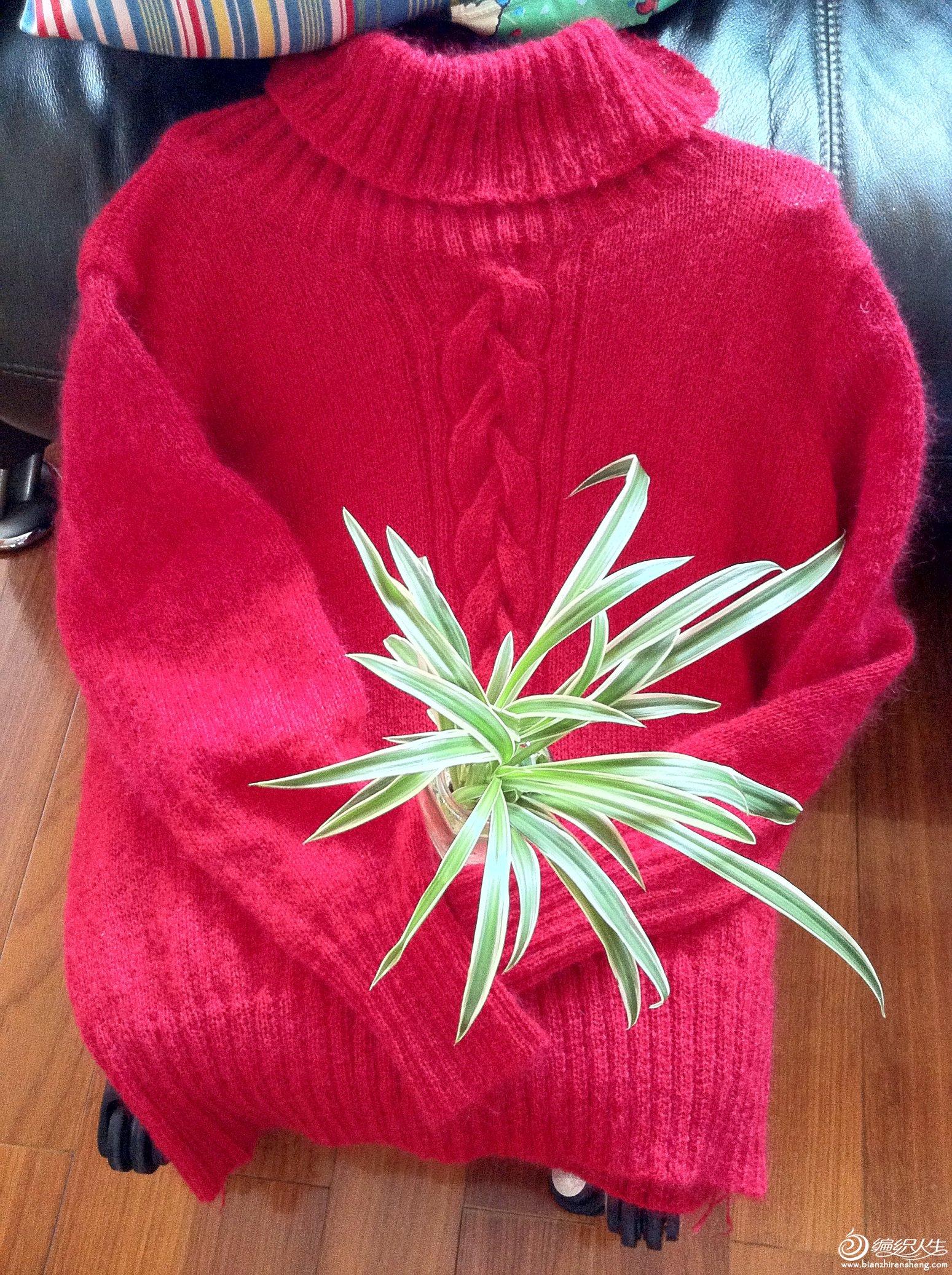 大红色棒针高领毛衣