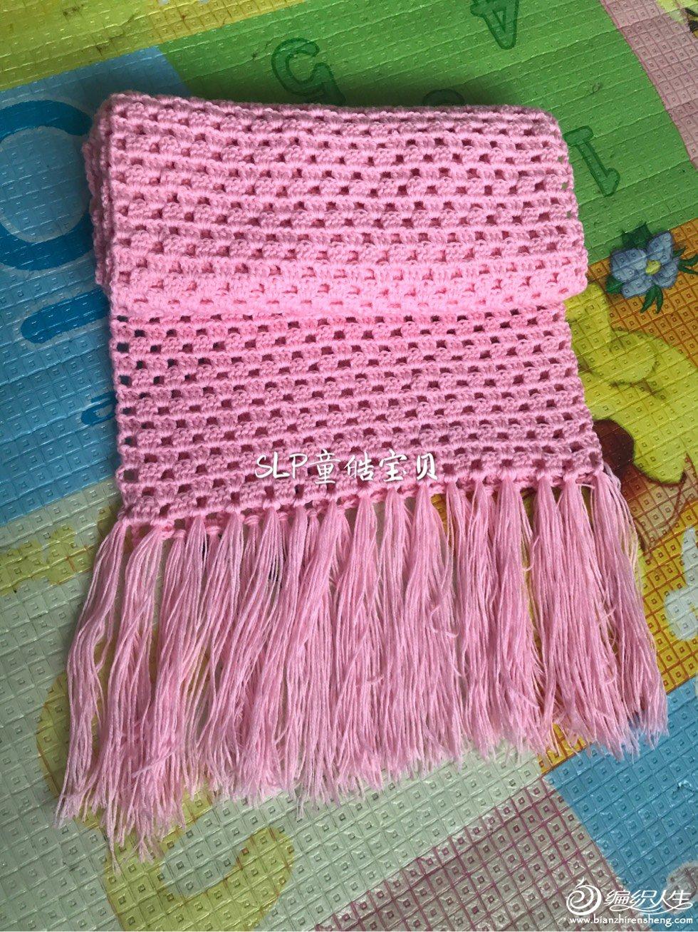 新手也可以编织的钩针流苏围巾