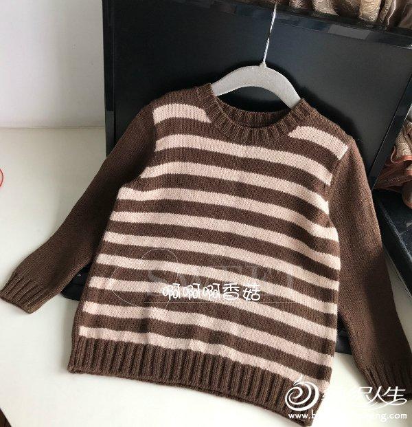 儿童棒针条纹毛衣
