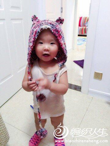 小熊棒针宝宝帽子