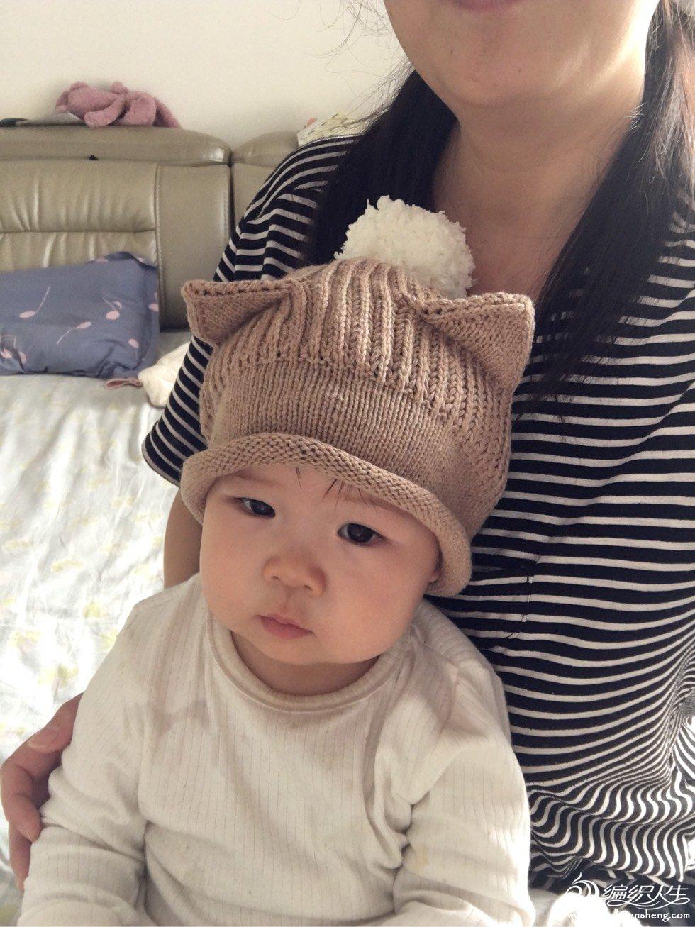 宝宝棒针猫耳帽