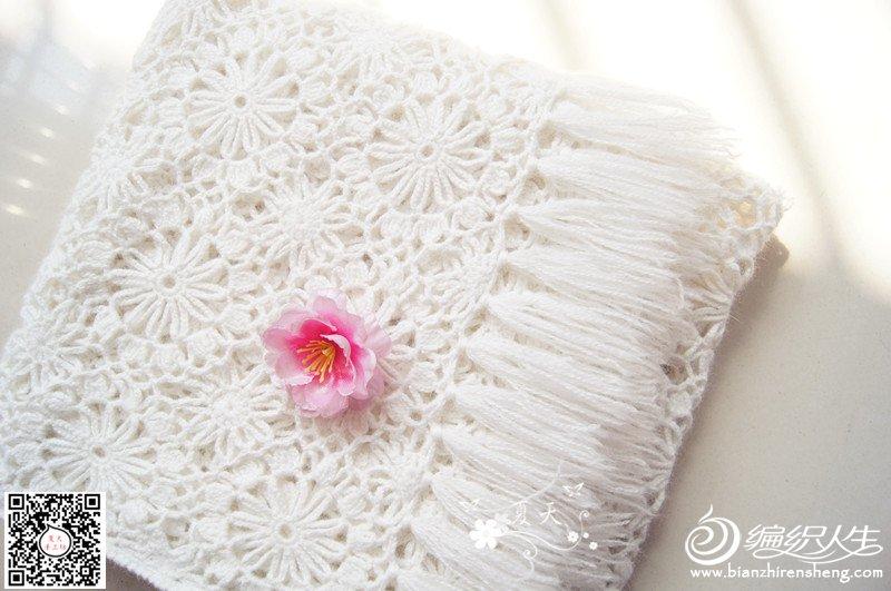 白色钩花围巾