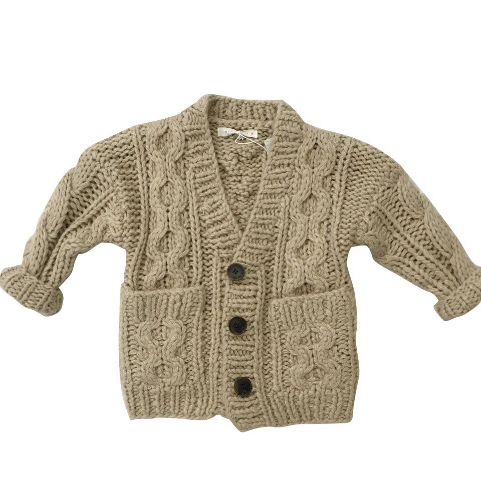 儿童粗针织毛衣开衫