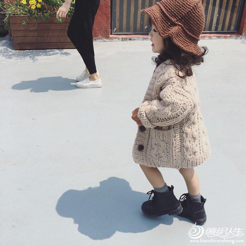 宝宝棒针麻花外套毛衣