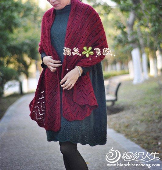 女士棒针镂空花围巾