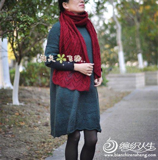 粗针织棒针围巾
