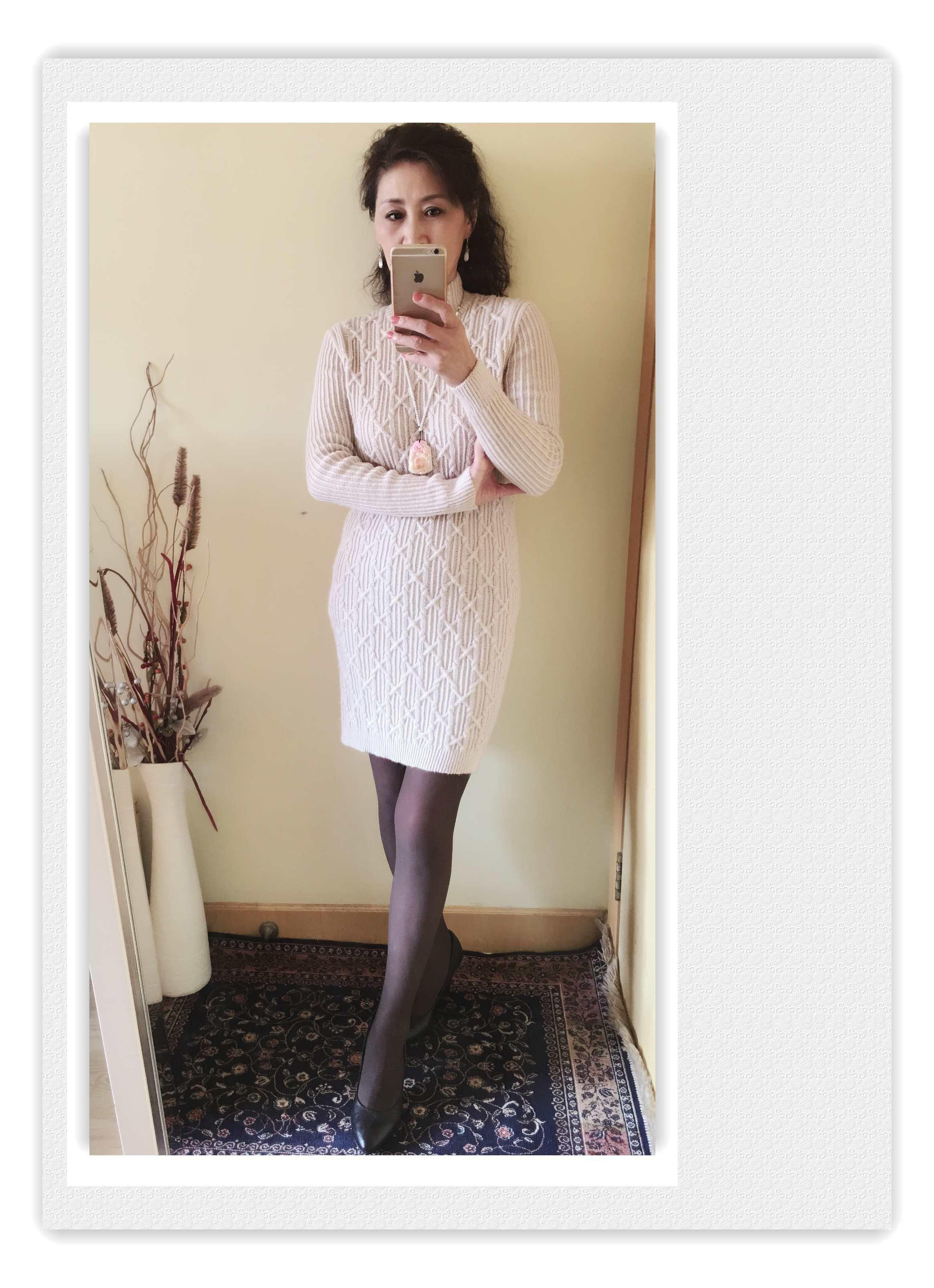 棒针长袖毛衣裙