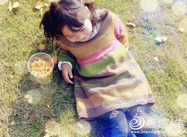 女童棒针长袖毛衣