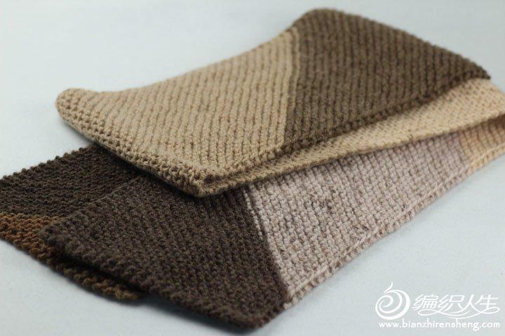 棒针斜纹围巾