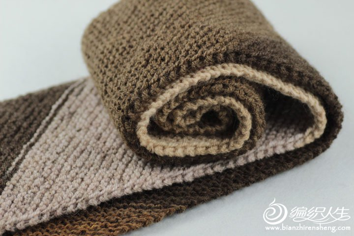 段染拼色毛线围巾