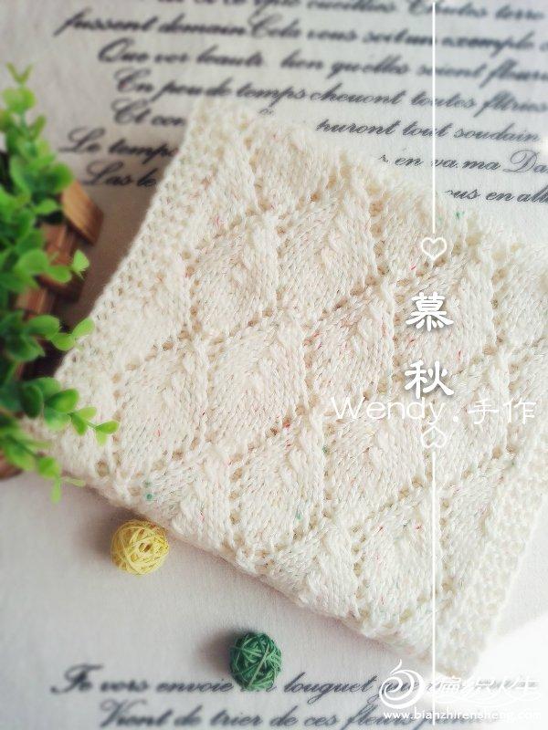 棒针菱形镂空花围巾