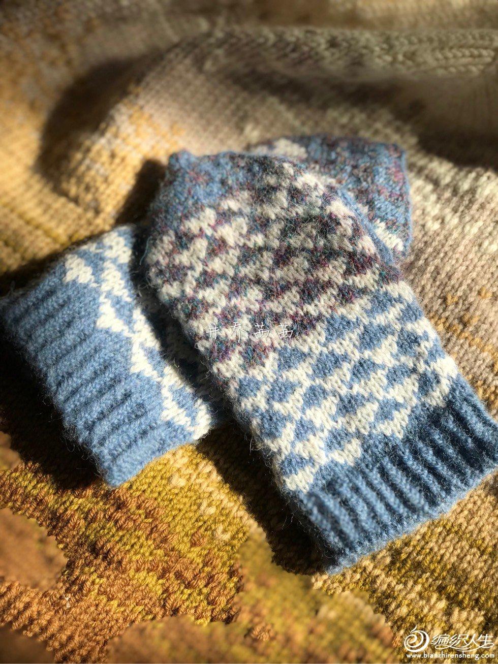 儿童棒针提花手套