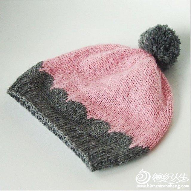 棒针拼色帽子