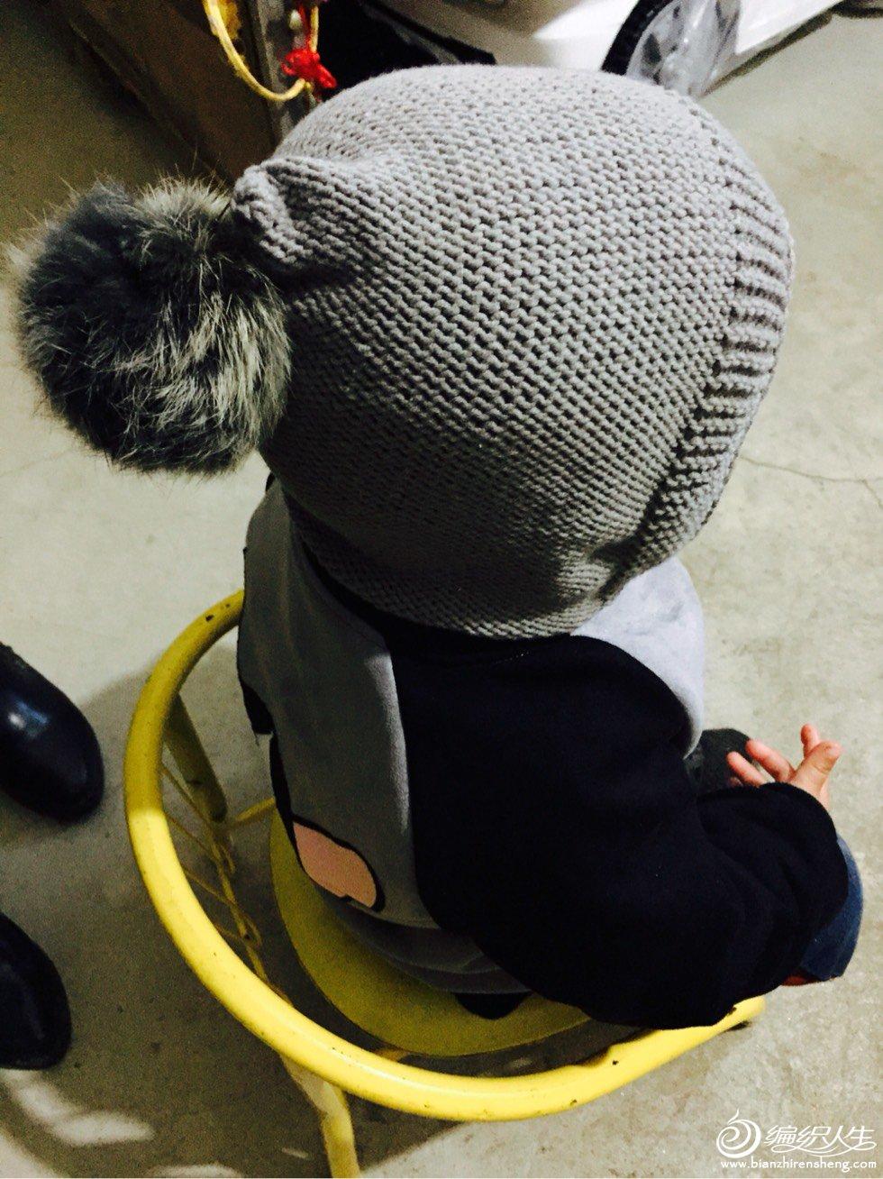 儿童棒针毛球帽子