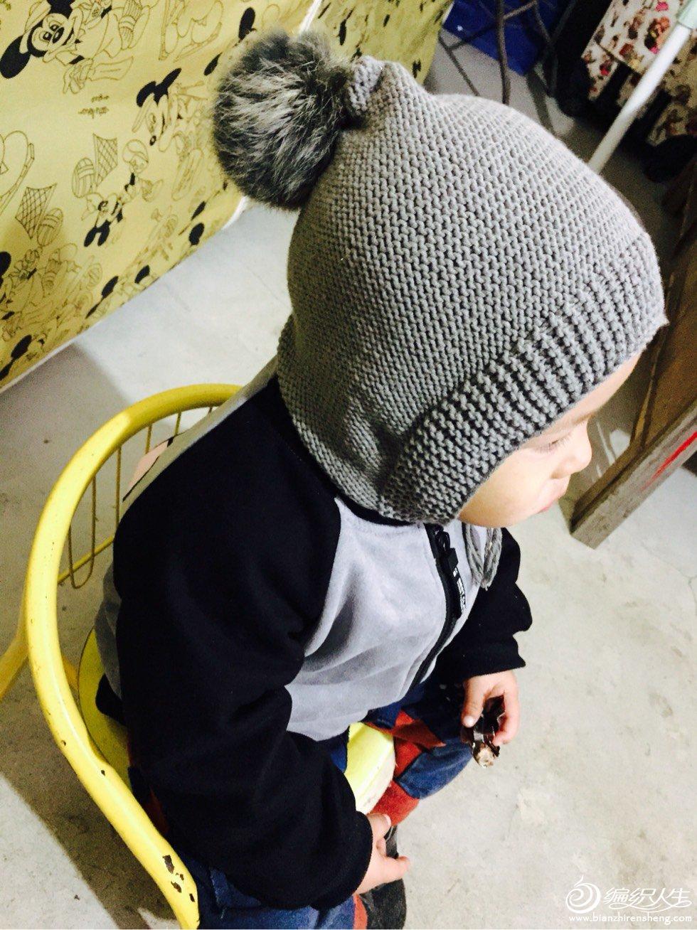 棒针宝宝毛球帽