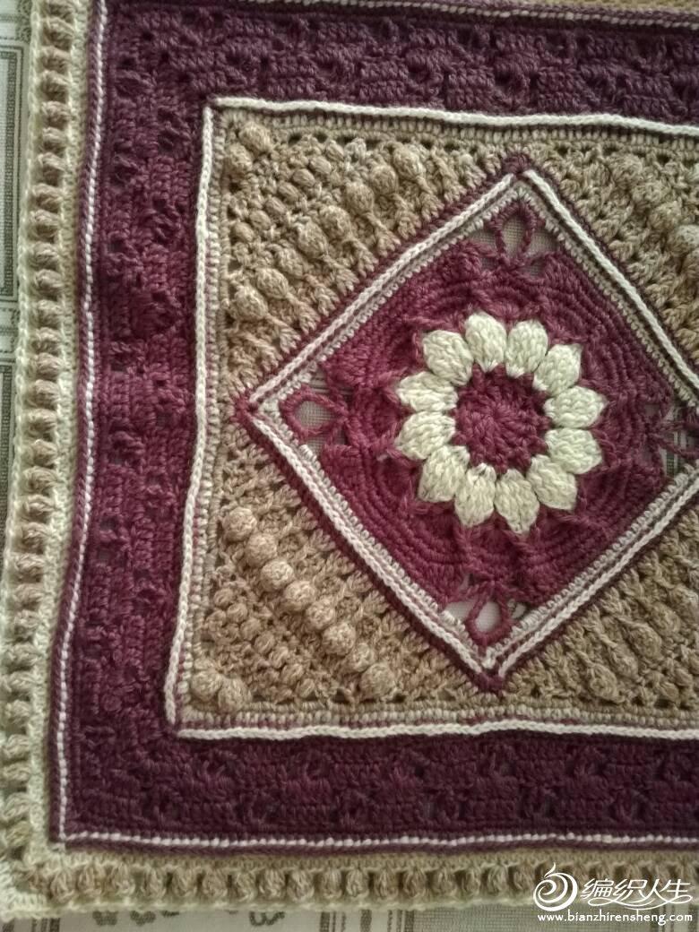 夏洛特毯 欧美图解翻译曼陀罗图案钩针方形拼花毯