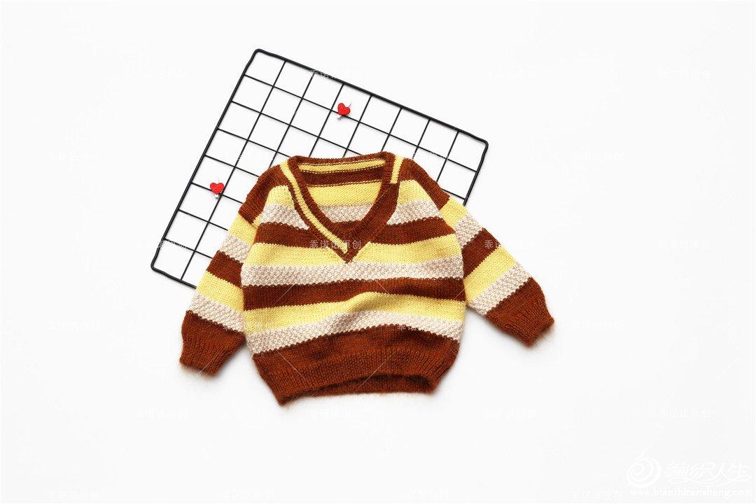 男童棒针V领毛衣