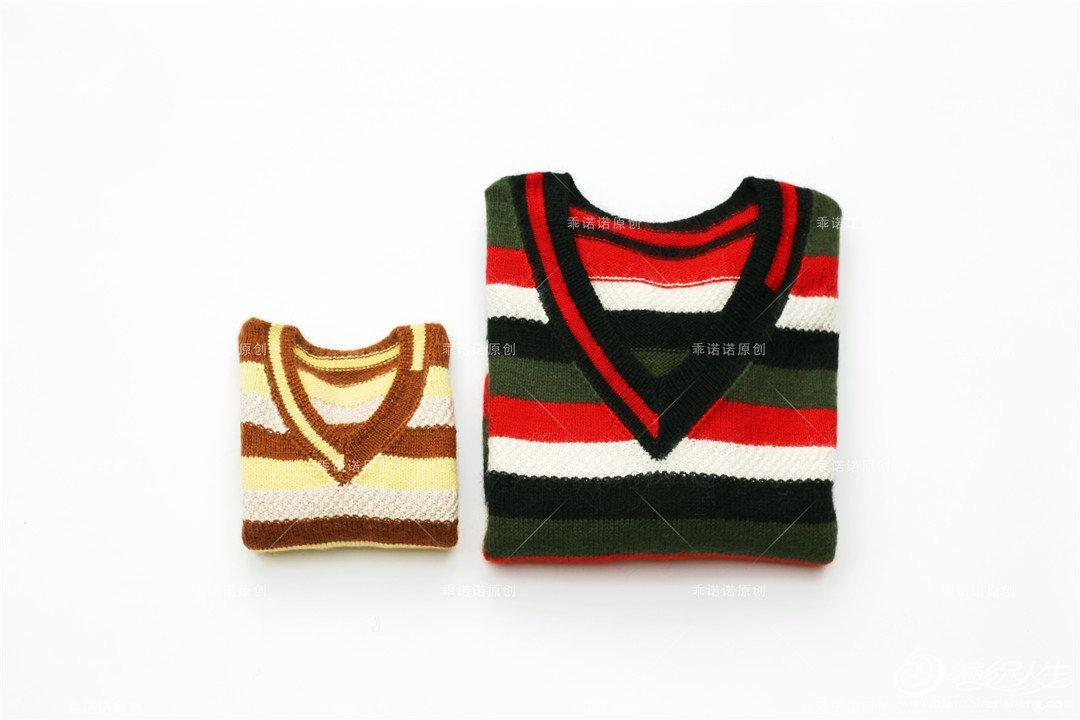 亲子棒针V领条纹毛衣