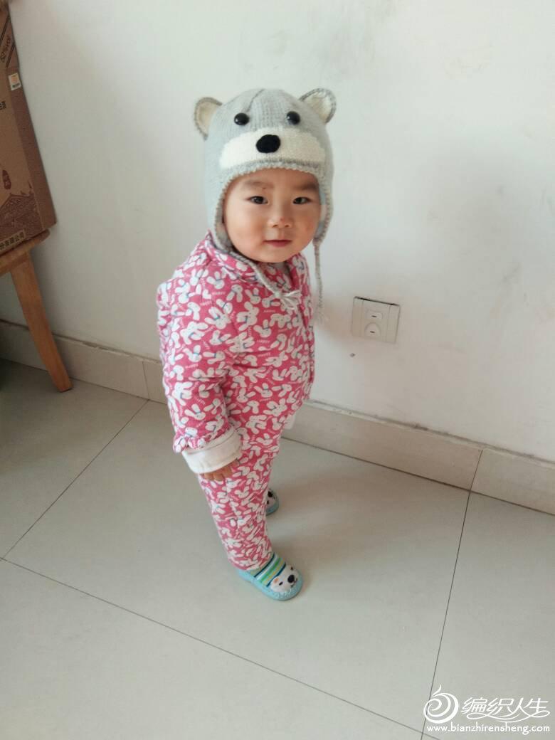 棒针宝宝小熊护耳帽