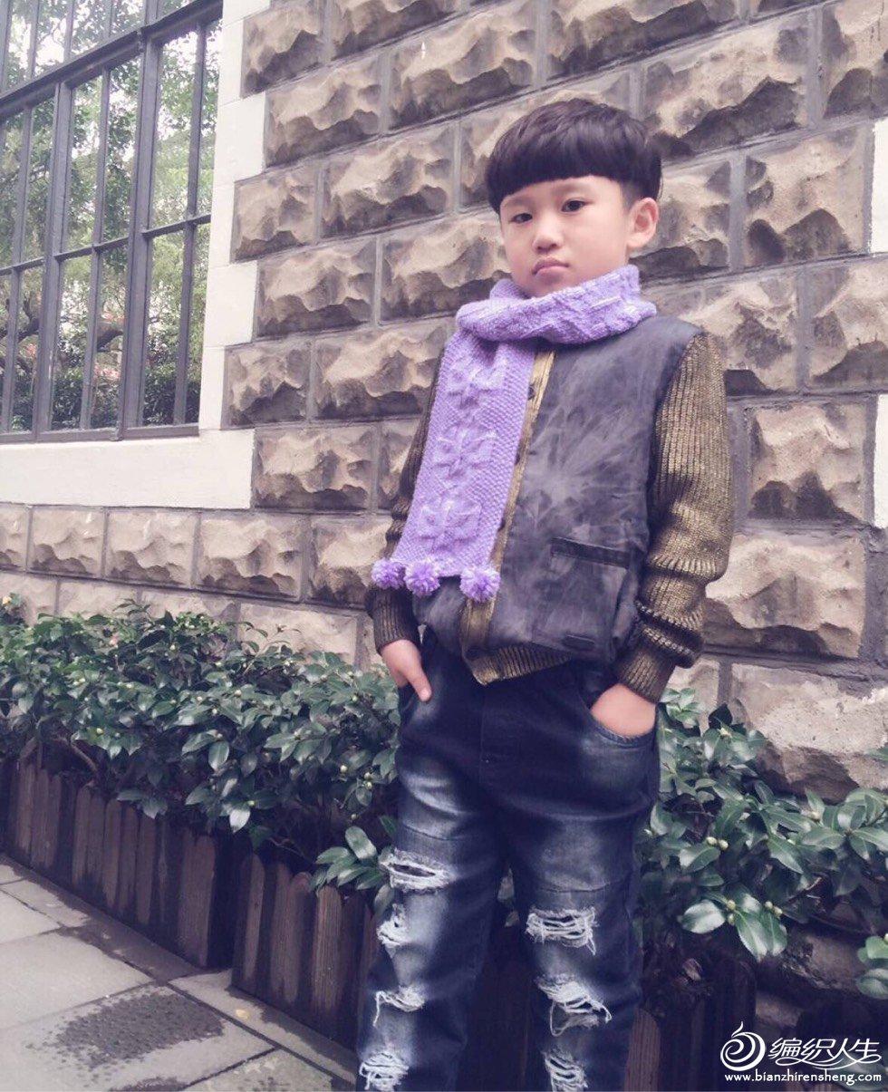 男童棒针围巾