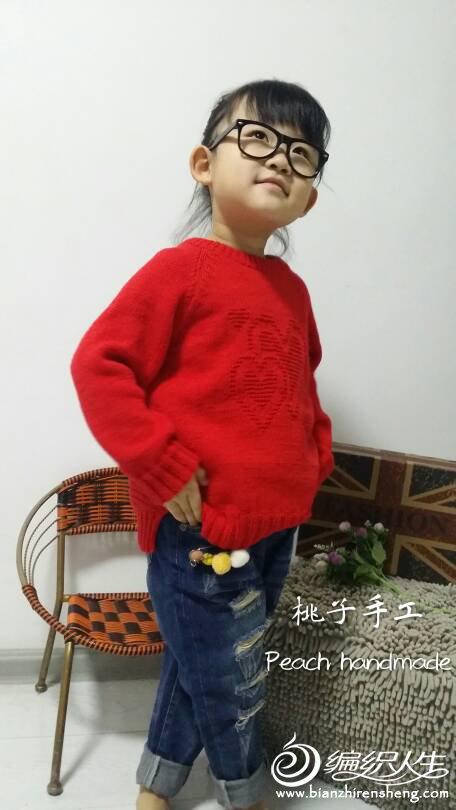 女童棒针红毛衣