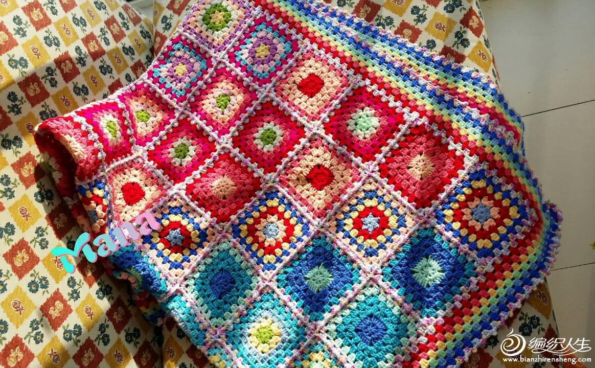 彩虹钩针拼花毯子