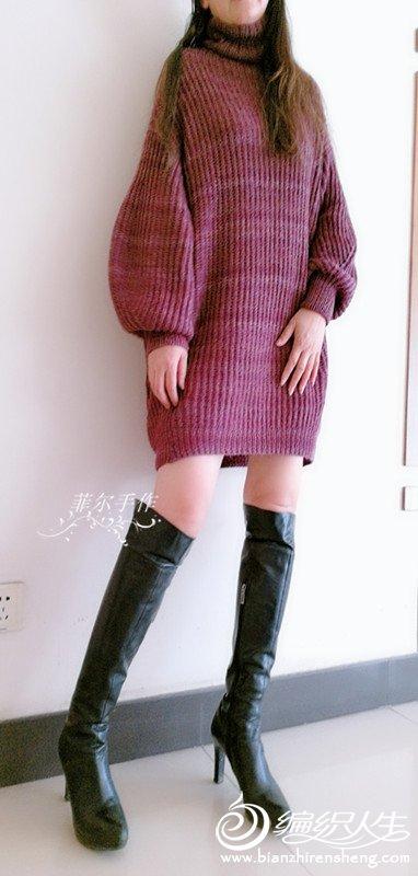 棒针泡袖毛衣裙