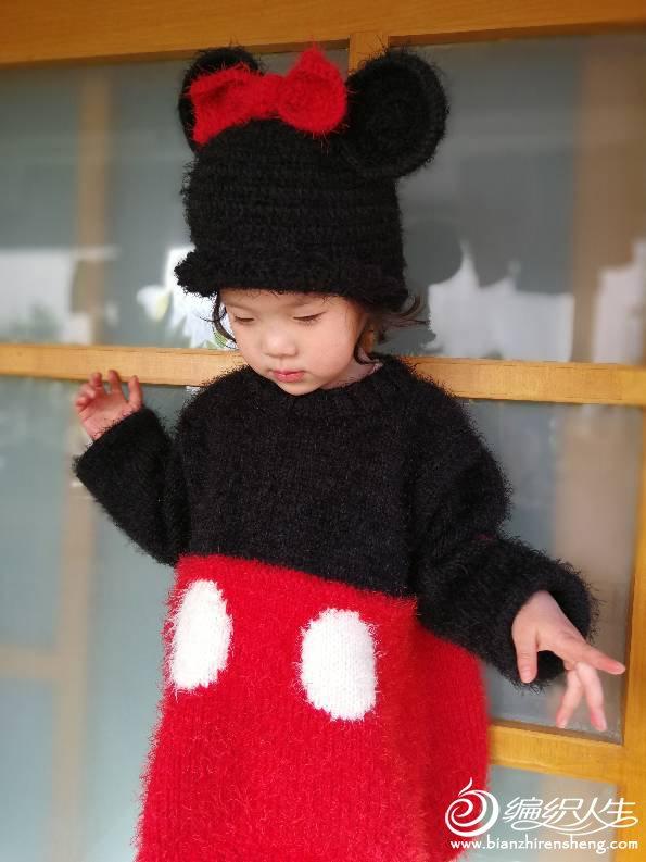 手编米妮毛衣帽子套装