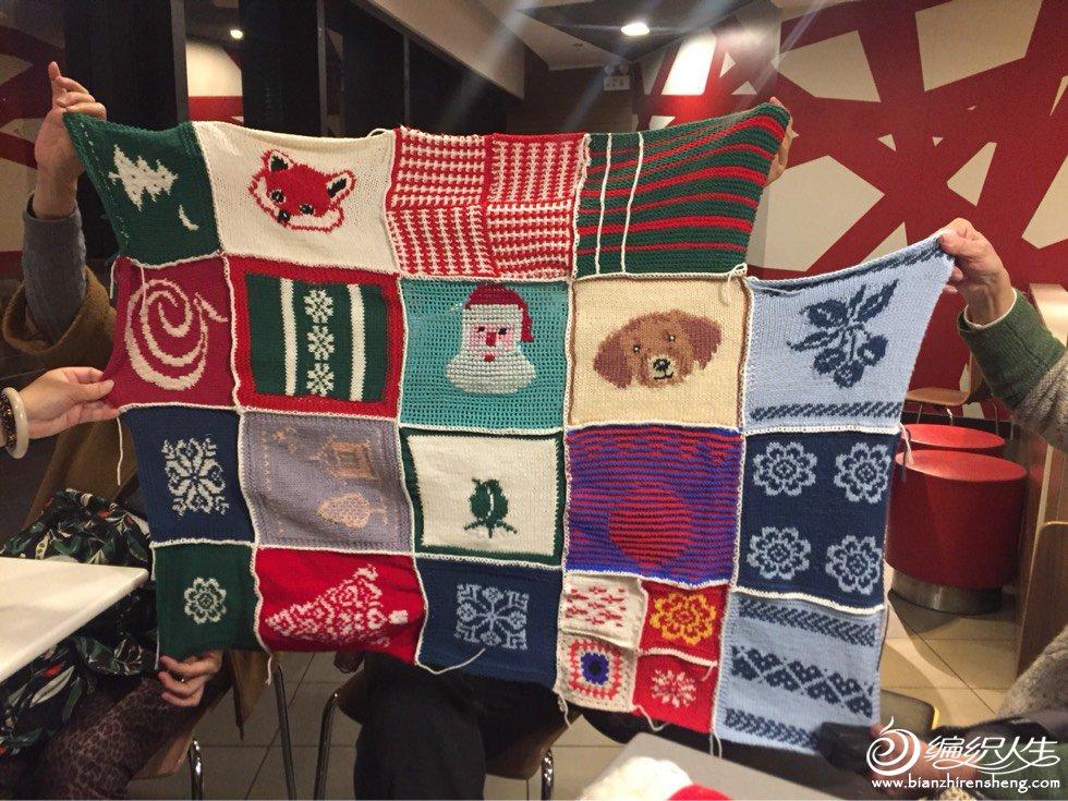 毛线拼花毯