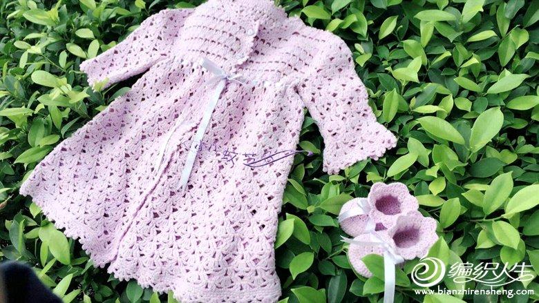 淡紫色钩针礼服裙
