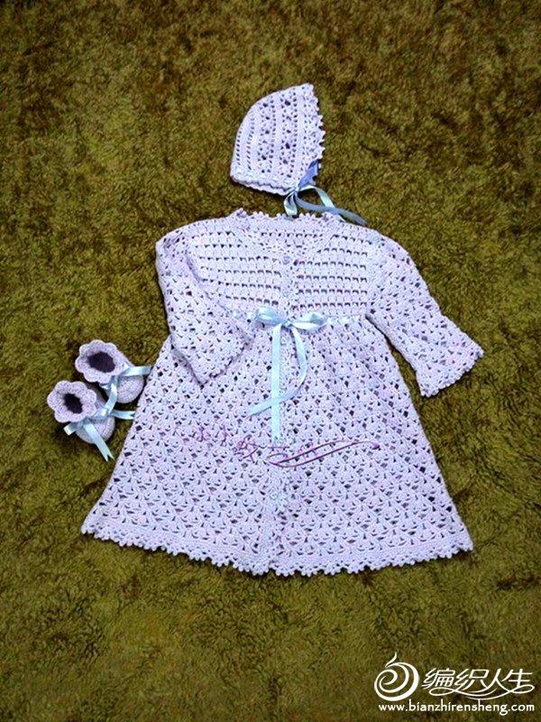 婴儿钩针礼服套装