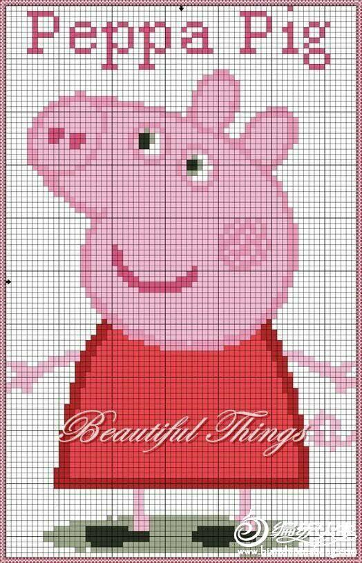 小猪佩琪与乔治 儿童棒针圆领卡通图案毛衣-编织教程