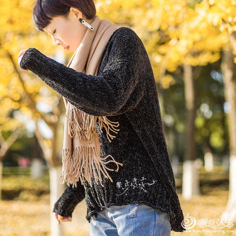 女士棒针宽松套头毛衣