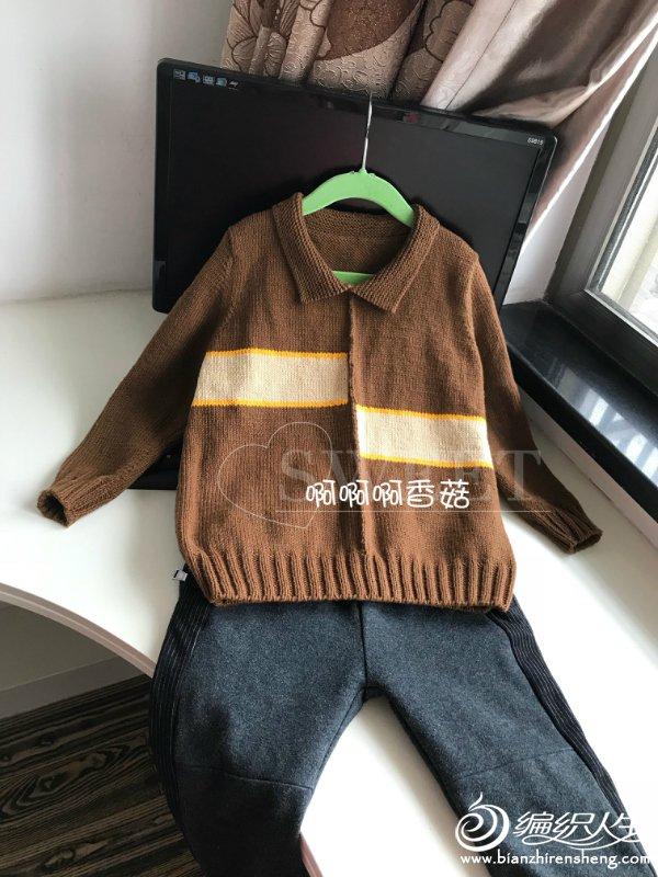 男童棒针翻领毛衣