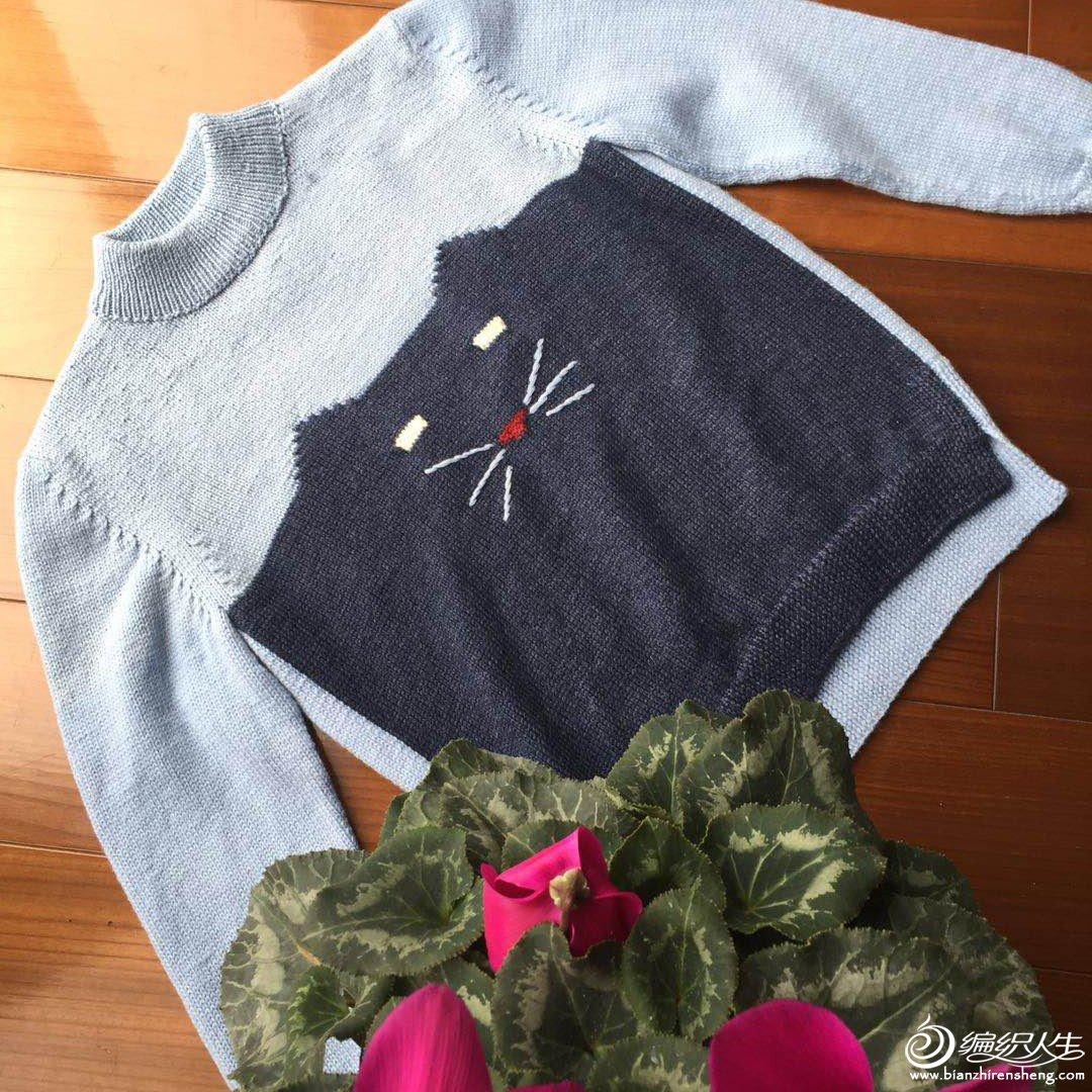 儿童棒针猫咪毛衣